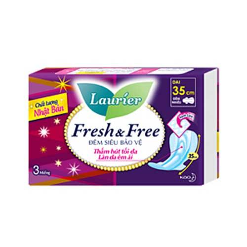 Băng vệ sinh ban đêm siêu bảo vệ Laurier Fresh & Free 3 miếng