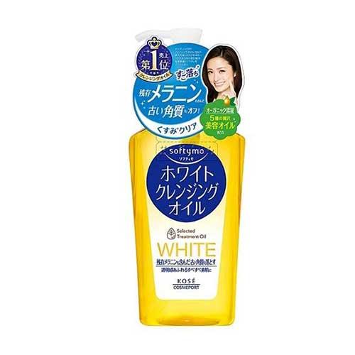 Dầu tẩy trang Kose Softymo White Selected Treatment Oil 230ml - Dành cho trang điểm đậm