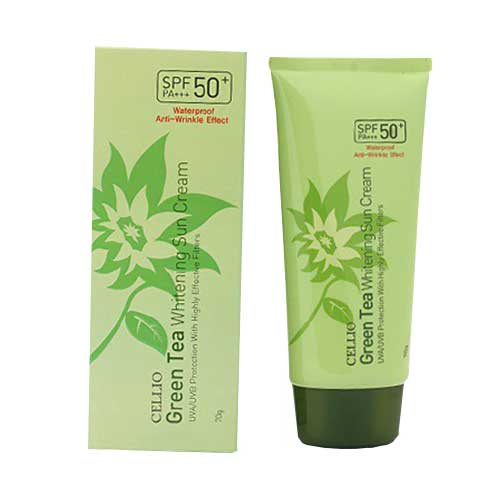 Kem chống nắng Cellio Green Tea Whitenning Sun Cream SPF50+/PA+++ 70g