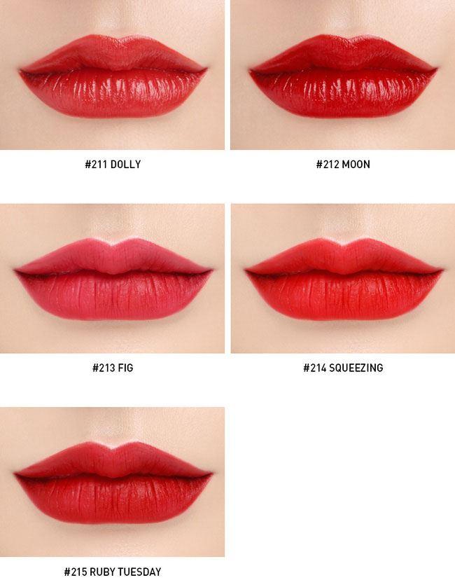 5 màu son Red Recipe: #211 Dolly (đỏ cam satin), #212 Moon (đỏ thuần satin), #213 Fig (đỏ hồng lì), #214 Squeezing (đỏ tươi lì) và #215 Ruby Tuesday (đỏ lạnh lì).