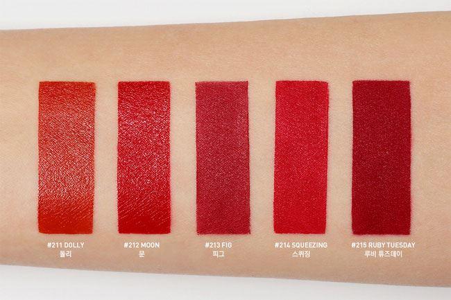 Bộ sưu tập 3CE Red Recipe lần này gồm 5 màu son tông đỏ