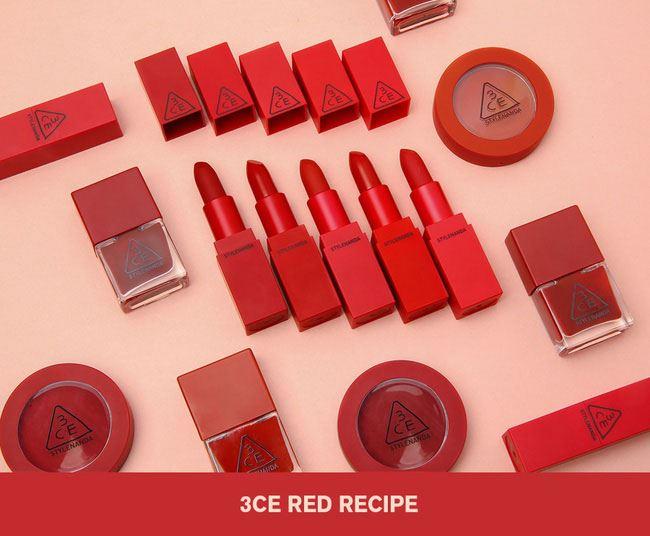 Bộ sưu tập3CE Red Recipevới 5 màu sontông đỏ siêu rực rỡ và nổi bật