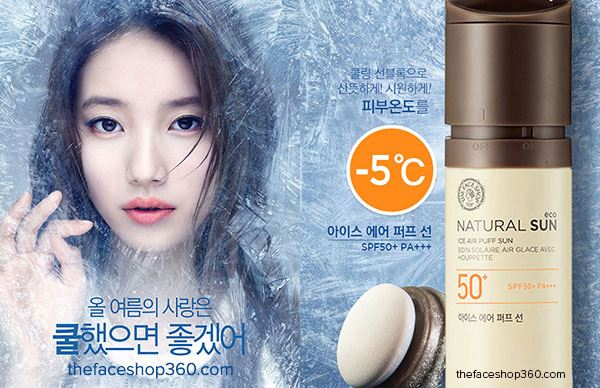 Kem Chống Nắng Thefaceshop Natural Sun Eco Ice Air Puff Sun SPF50+ PA+++