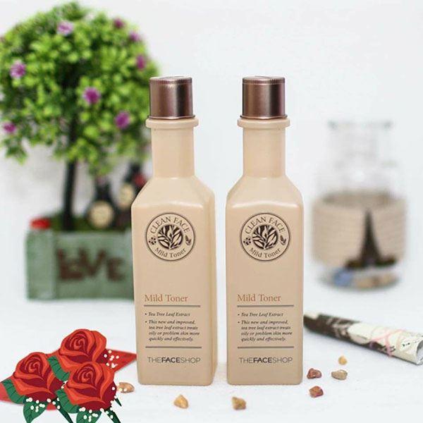 Nước hoa hồng trị mụn Clean Face Mild Toner The Face shop chiết xuất hoàn toàn từ tự nhiên phù hợp với da mụn và da nhờn
