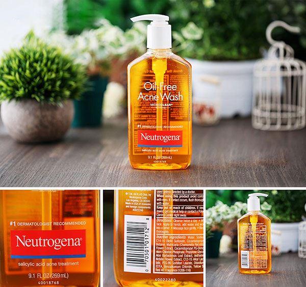 Thiết kế của Sữa rửa mặt trị mụn Neutrogena Oil Free Acnes Wash Microclear ở dạng chai nhựa, màu trong suốt khá đơn giản