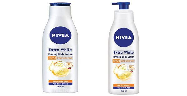 Sữa dưỡng thể Nivea Extra White SPF 30 có 2 dung tích là 350ml và 200ml.