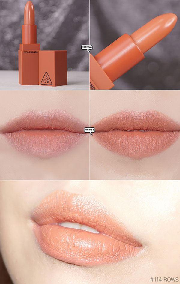 Son 3CE Stylenanda Lip Color 114 Rows - Cam đào là màu son sáng nhất trong BST