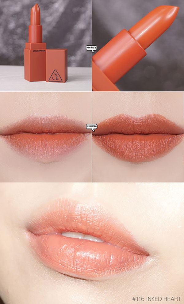 Son 3CE Stylenanda Lip Color 116 Ined Heart - Cam Đất
