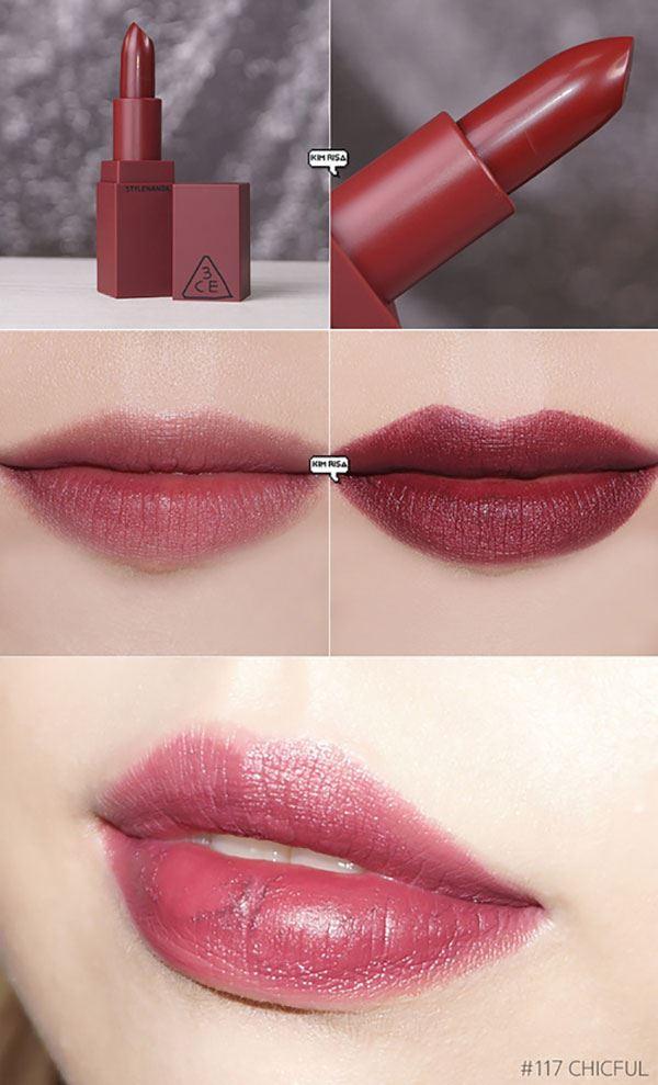 Son 3CE Stylenanda Lip Color 117 Chicful – Mận chín chính là thỏi son có màu trầm nhất trong BST