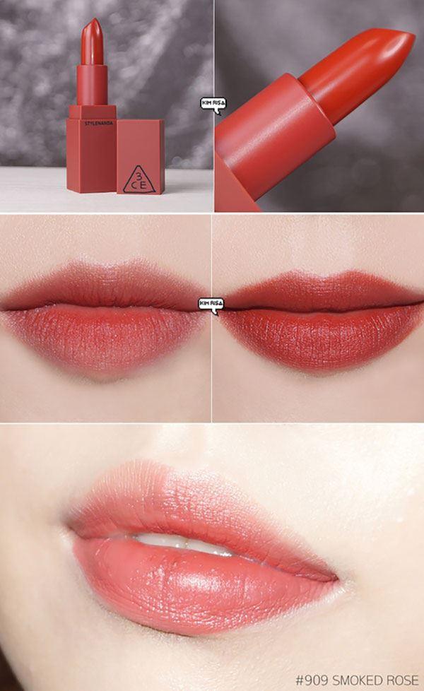 Son 3CE Stylenanda Lip Color 909 Smoked Rose – Đỏ gạch có tông màu rực rỡ nhất trong BST