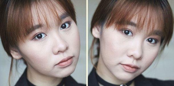 Kết quả của việc highlight theo 4 bước trên: Ánh sáng tập trung vào vùng da giữa khuôn mặt, đồng nghĩa với việc 2 bên xương quai hàm cũng được nhỏ gon hơn.